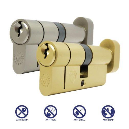 satin nickel and brass thumb turn cylinder