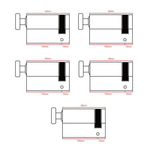 half thumb turn cylinders