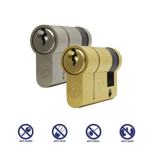 satin nickel and brass half euro cylinder