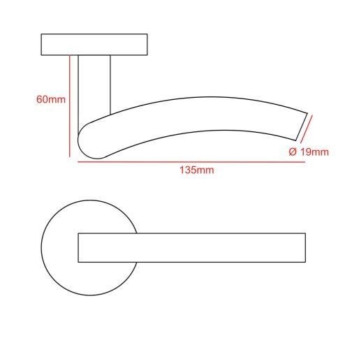 inward curve bar lever handle cad drawing