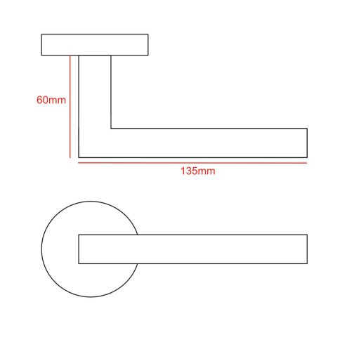mitred bar lever handle cad drawing