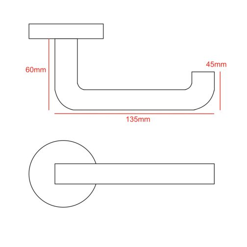 round bar lever handle cad drawing