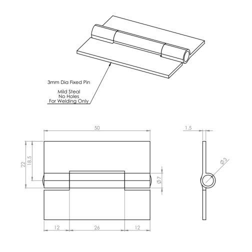 50mm Light Duty Steel Weld On Butt Hinge