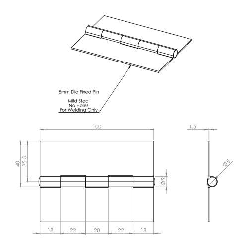 100mm Light Duty Steel Weld On Butt Hinge