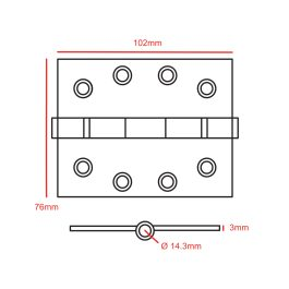 4″ x 3″ Satin Stainless Steel Butt Hinge