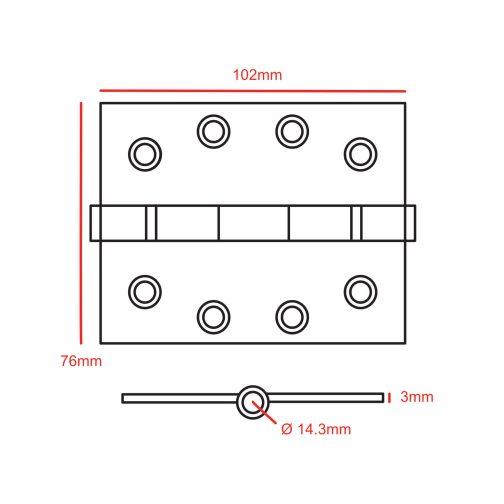 4x2 Hinge no Pin CAD