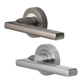 Vela Lever Handles on 50mm Round Rose
