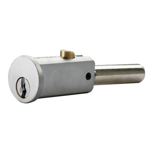 Round shutter lock in satin nickel