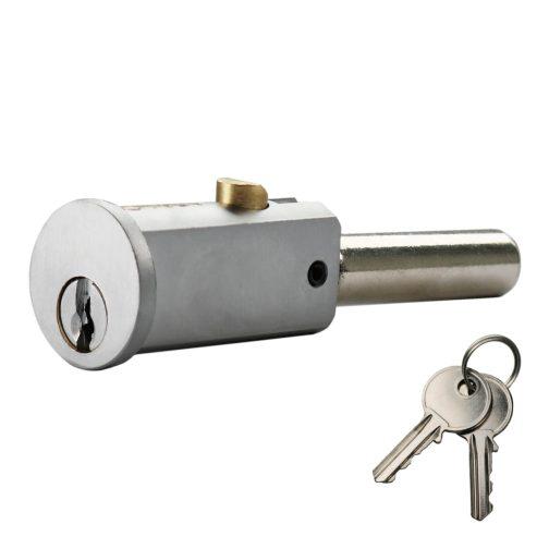 Round shutter lock in satin nickel with 2 keys