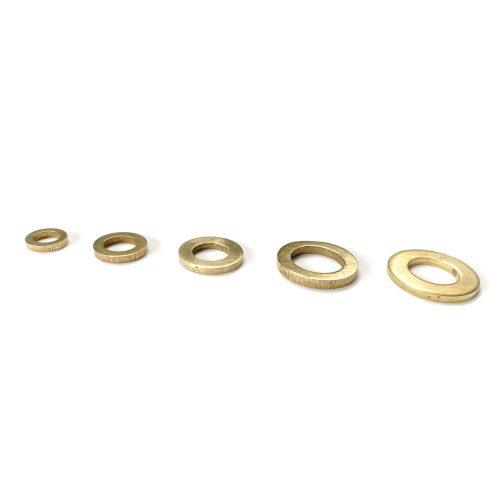 Five brass washers